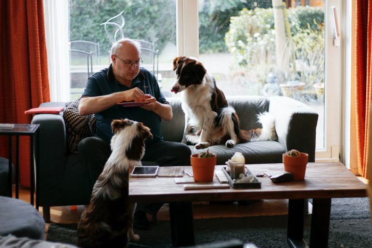 Man eating with dogs